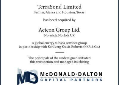 "Acteon, the global Subsea Services group, has completed the acquisition of geosciences survey company TerraSond. Headquartered in the USA, TerraSond is a multidisciplinary geospatial and geophysical business with global experience. Working for clients in Oil & Gas, Renewables, Engineering and Mining, Telecoms, Marine Construction and Public Sectors, the company has developed a reputation for excellence in planning and executing remote and challenging surveys. These range from inland works to deep ocean seabed exploration and mapping projects.  Tom Newman, the President of TerraSond, commented, ""We are excited to be joining Acteon; leveraging their resources and global coverage will enable us to deliver even more high-quality work to our clients while providing long-term growth and opportunity for our talented and dedicated employees. TerraSond's focus on both innovative and proven geospatial and geophysical offerings complements Acteon's survey capabilities.""  ""The addition to the group of TerraSond, with its early-cycle capability, alongside the recently announced acquisition of Benthic, enhances Acteon's existing very strong survey business and the development of a truly comprehensive global offering"" said Richard Higham, Acteon's Chief Executive.  TerraSond will continue to be led by Tom Newman and his management team."