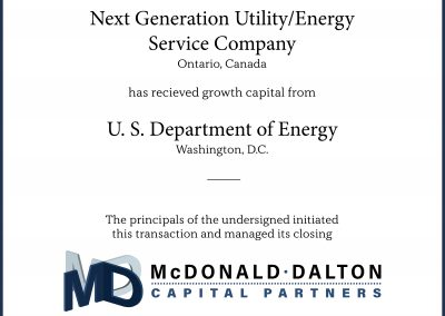 A next-generation utility/energy service company (Ontario, Canada) which integrates established hydrogen and other renewable energy technologies with newer, leading-edge intellectual property and products. This company received significant research and development financing by the U.S. Department of Energy (Washington, D.C.).