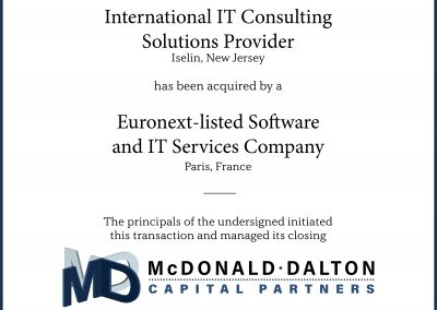 A leading international provider (Iselin, NJ) of complex, high-quality IT consulting solutions for client/server applications, e-commerce and Internet technologies, database and network management, and ERP/CRM practices. This company was acquired by a Euronext-listed, specialized software and IT services company which provides high added-value advisory and integration services worldwide (Paris, France).