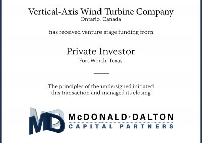 Venture-stage funding for a vertical-axis wind turbine company (Plano, TX) financed by a Private Investor.